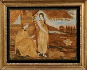 Framed British Silk Needlework Picture