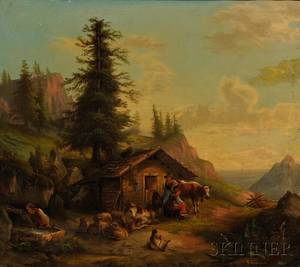 Continental School 19th Century Alpine Farm