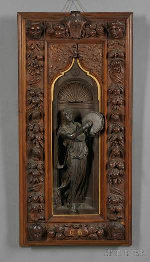 Victorian Carved Walnut and Patinated Metal Wall Plaque