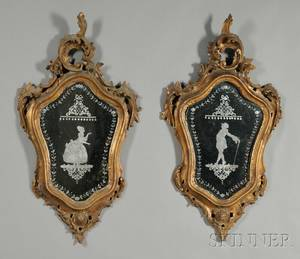 Pair of Rococo Giltwood Mirrors