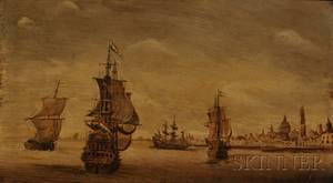 Continental School 18th19th Century View of Dutch Galleons in a Harbor