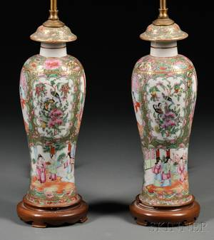 Pair of Chinese Export Porcelain Rose Medallion Lamp Bases
