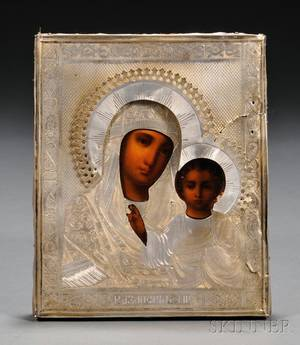 Russian Icon with Silver Riza depicting the Kazan Mother of God