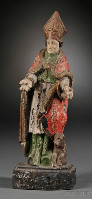 Carved and Polychrome Wood Figure of a Bishop