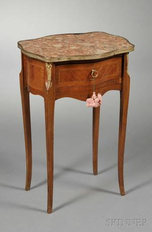 Louis XV Carved Marbletop Side Table