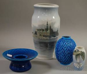 Three Pieces of Royal Copenhagen Porcelain and a Rohrstrand Chinese Blue Glazed Porcelain Vase