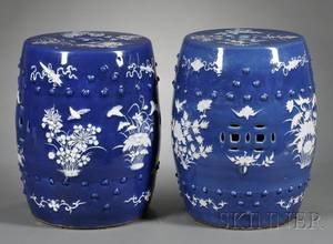 Near Pair of Chinese Export Porcelain Garden Seats
