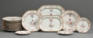 Twentyone Chinese Export Porcelain Armorial Decorated Table Items