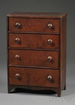 Miniature Mahogany and Mahogany Veneer Fourdrawer Chest