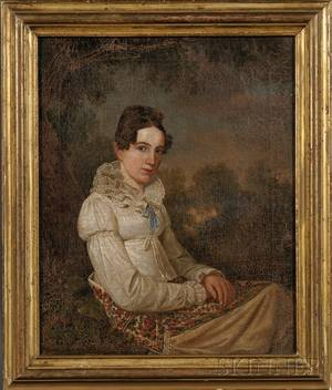 American School 19th Century Portrait of a Young Woman in a Landscape Wearing a White Gown