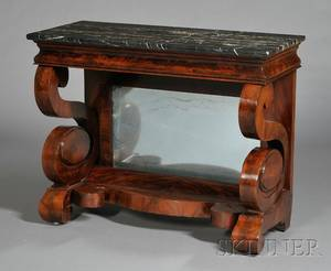 Classical Mahogany and Flame Mahogany Veneer Marbletop Pier Table