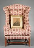 Chippendale Cherry Upholstered Easy Chair