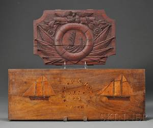 Two Inlaid and Carved Wood Nautical Wall Plaques