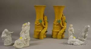 Set of Six Chinese White Glazed Molded Porcelain Figures and a Pair of Glazed Porcelain Bambooform Vases
