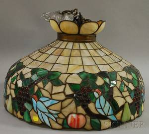 Large Leaded Slag and Jeweled Glass Fruit and Bird Pattern Hanging Lamp Shade