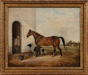 American School 19th Century Portrait of a Horse with Stable Yard Cat and Dog