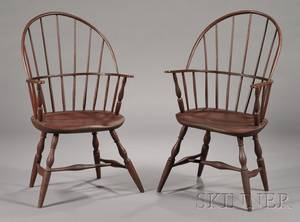 Pair of Redstained Sackback Windsor Armchairs