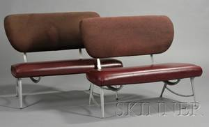 Pair of Modern Industrial Design Upholstered Aluminum Benches