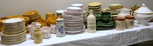 Large Lot of French and European Faience and Ceramic Tableware Articles and Decorative Items