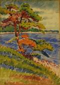 Harley Manlius Perkins American 18831964 Cove View with Tree