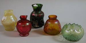 Five Loetztype Iridescent Colored Art Glass Vases
