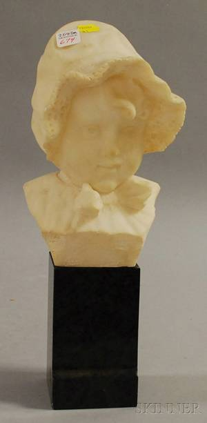 Italian Carved Alabaster Bust of a Young Girl with Lace Bonnet on a Black Marble Plinth