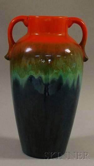 Art Pottery Flambe Glazed Twohandled Vase