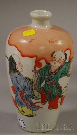 Chinese Famille Verte Ceramic Vase