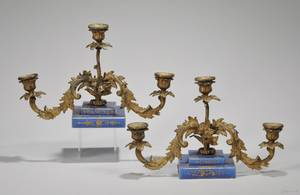 Pair of French Giltmetal Threelight Candelabrum with Giltdecorated Blue Glass Bases