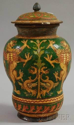Large Italian Ceramic Covered Jar