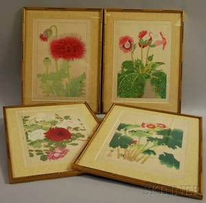 Four Contemporary Japanese Botanical Woodblock Prints