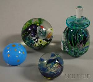 Baccarat Art Glass Paperweight and Three Modern Studio Art Glass Paperweights