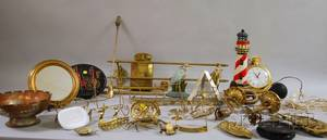 Large Lot of Assorted Mostly Brass and Cast Iron Decorative Articles and Accessories