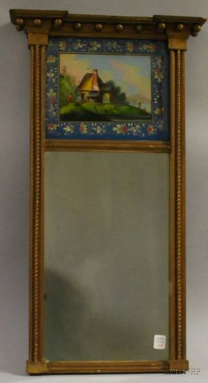 Federal Giltwood Tabernacle Mirror with Reversepainted Glass Tablet Depicting a Cottage
