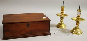 Pair of Brass Pricket Candlesticks and a Mahogany Dovetailconstructed Document Box