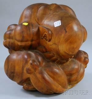 Large Asian Carved Hardwood Sculpture of a Man