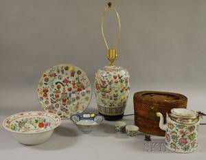 Six Chinese Export Polychrome Enameldecorated Porcelain Items and a Blue and White Decorated Porcelain Bowl