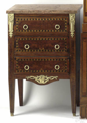 Continental mahogany marble top commode mid 19th c