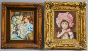 Lot of Two Framed Oil on Canvas Portraits of Young Girls