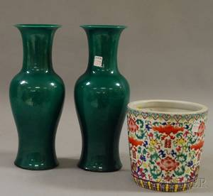 Pair of Asianstyle Green Glazed Stoneware Vases and a Chinese Export Porcelain Jardiniere
