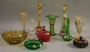 Nine Enameldecorated Art Glass Table Items a Steuben Glass Bud Vase and a Loetztype Iridescent Green Art Glass Low Bowl