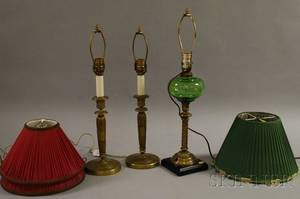 Pair of French Victorian Brass CandlesticksTable Lamps and a Brass and Green Glass Oil Lamp