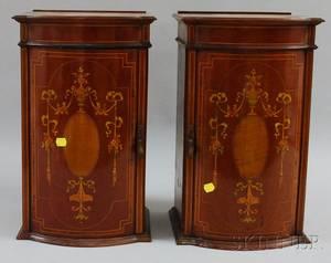 Pair of Edwardian Inlaid Mahogany Bowfront Desk Cabinets