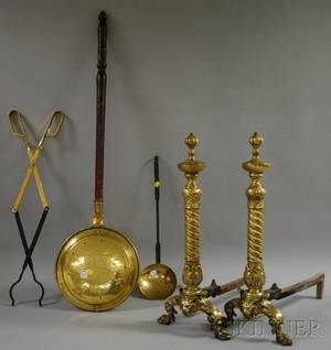 Pair of Cast Brass Georgianstyle Andirons an Iron Wood Grate Brass Skimmer Tongs and a Bedwarmer