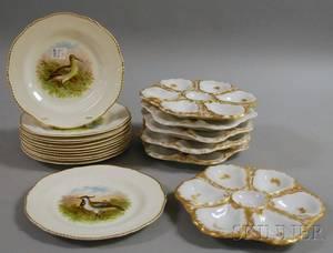 Set of Six Gilt Porcelain Oyster Plates and a Set of Twelve Woods Transfer Game Birddecorated Porcelain Plates