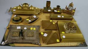 Large Lot of Assorted Bronze and Brass Desk Items