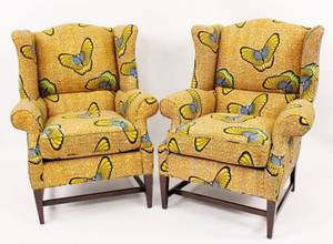 Pair of 20th C Wingback Upholstered Armchairs