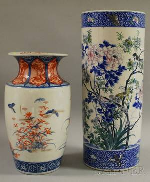 Japanese Porcelain Umbrella Stand and Imari Porcelain Vase