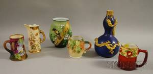 Six Assorted Late Victorian Decorated Ceramic and Glass Table Items