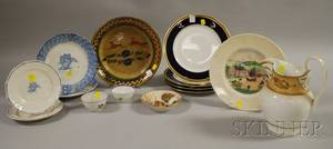 Fourteen Pieces of Miscellaneous Decorated Ceramic Tableware